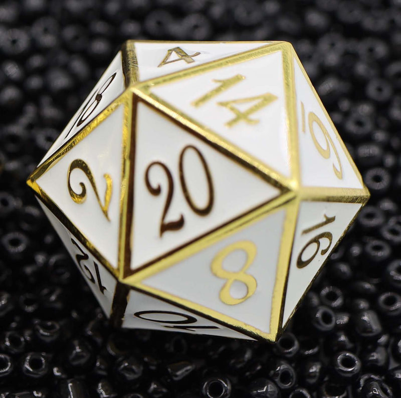 D20 Gold with White - 35mm Extra Large Metal