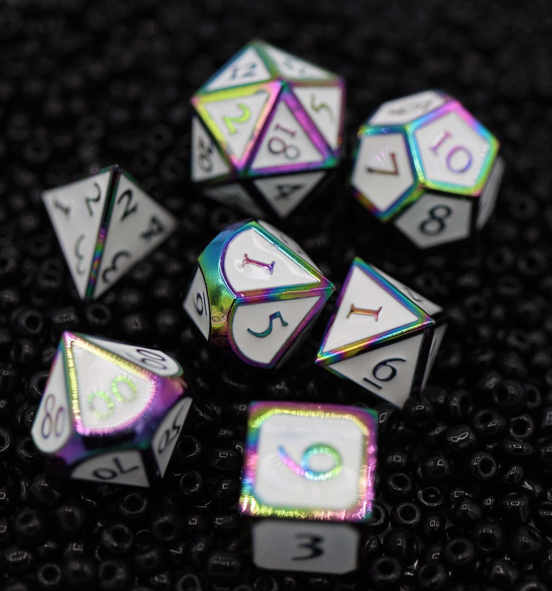 Burnt Opal with White RPG Dice Set