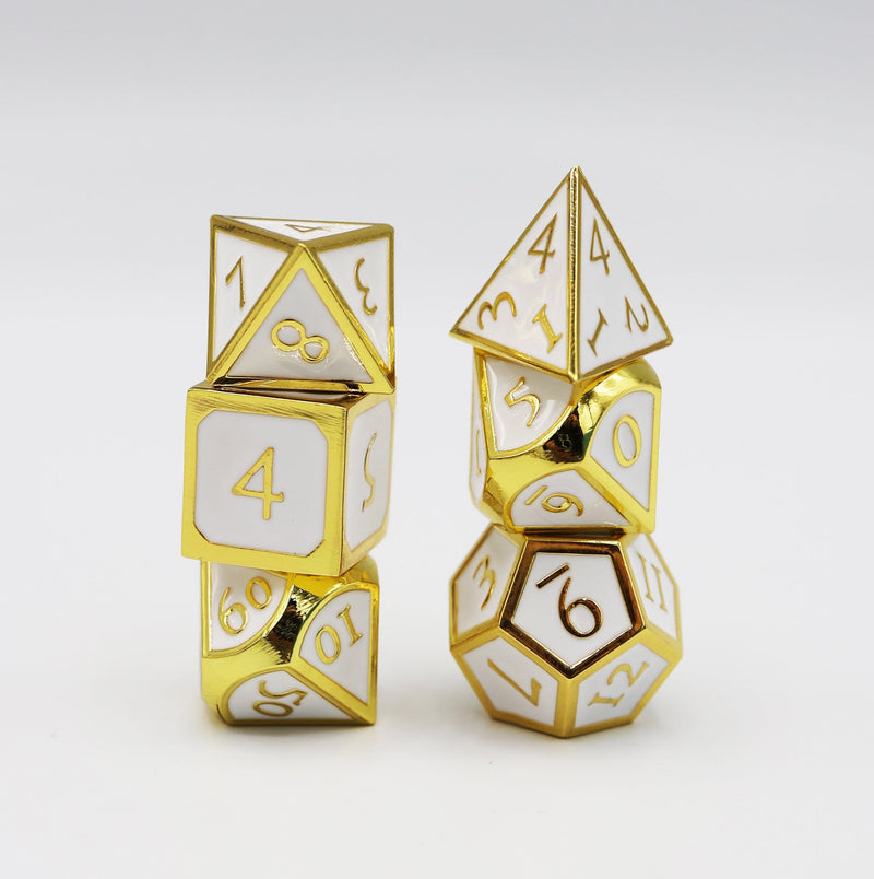 Gold Embossed with White RPG Dice Set