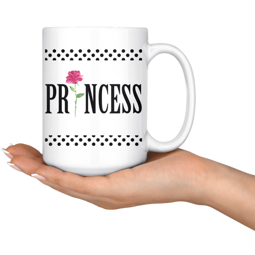 Black Dots Princess coffee mugs 15 Oz