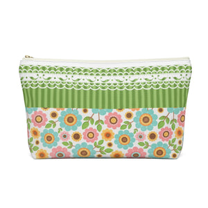 Cosmetic pouch organizer with T-bottom perfect gift for her