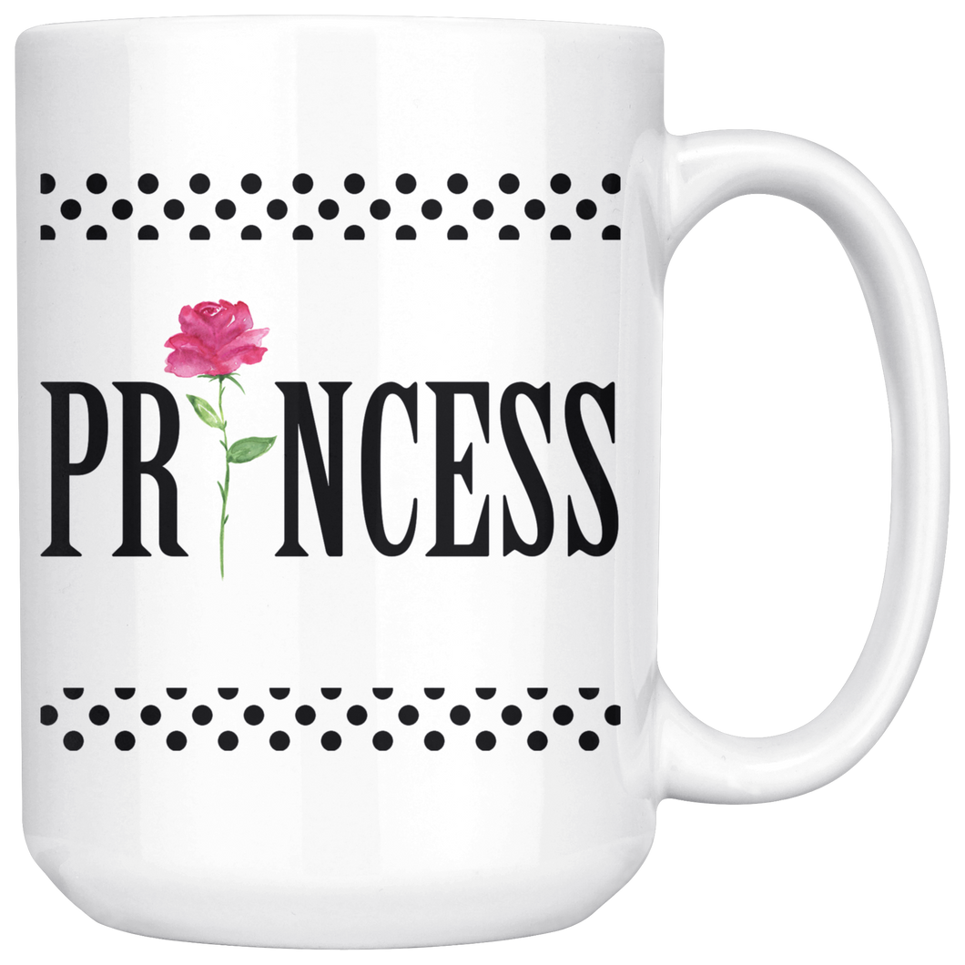 Black Dots romantic coffee mug Princess 15 Oz. custom design - ${shop-name