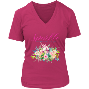 Sparkle Everywhere You Go | Women's V-Neck T-Shirt Unicorn - sea-gull