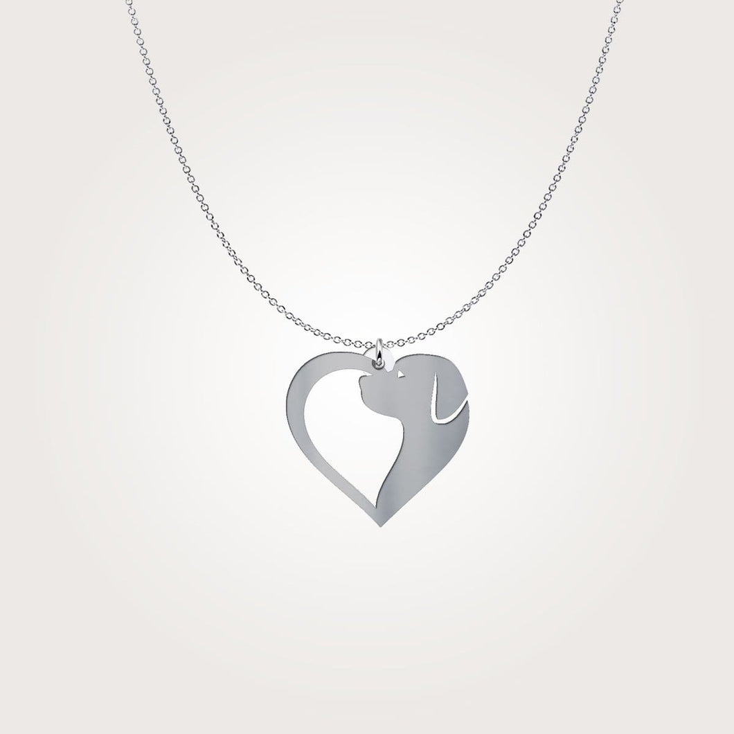 Heart Dog Pendant Silver Necklace -gull