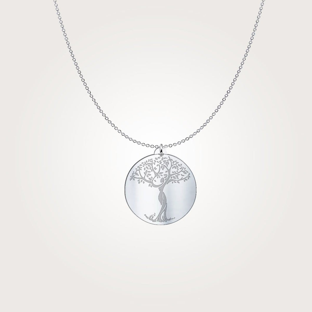 Under a tree Meditation Engraved Sterling Silver Necklace - sea-gull