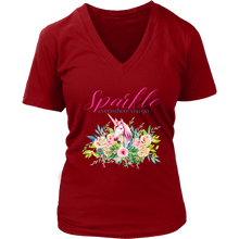 Load image into Gallery viewer, Sparkle Everywhere You Go | Women's V-Neck T-Shirt Unicorn - sea-gull