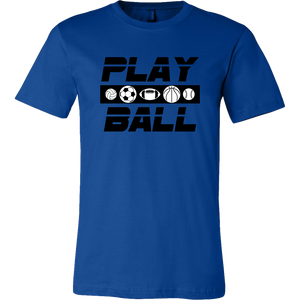 Men's Canvas T-Shirt Play Ball Games Sports - sea-gull