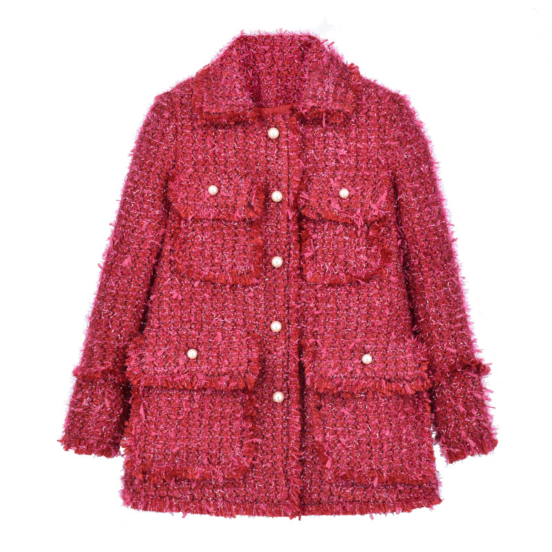 Tweed jacket women long section New Year 2019 red ladies small fragrance shirt 578894687696#4030082259857 578894687696#4030082259853 578894687696#4030082259855 578894687696#4030082259851