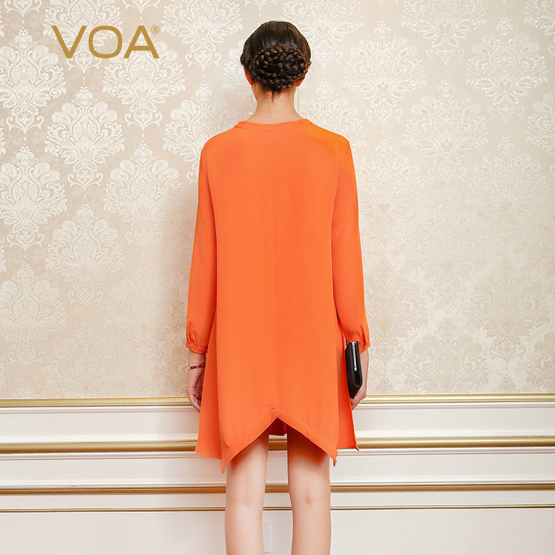 Silk orange yellow heavy silk long-sleeved dress casual silk shirt