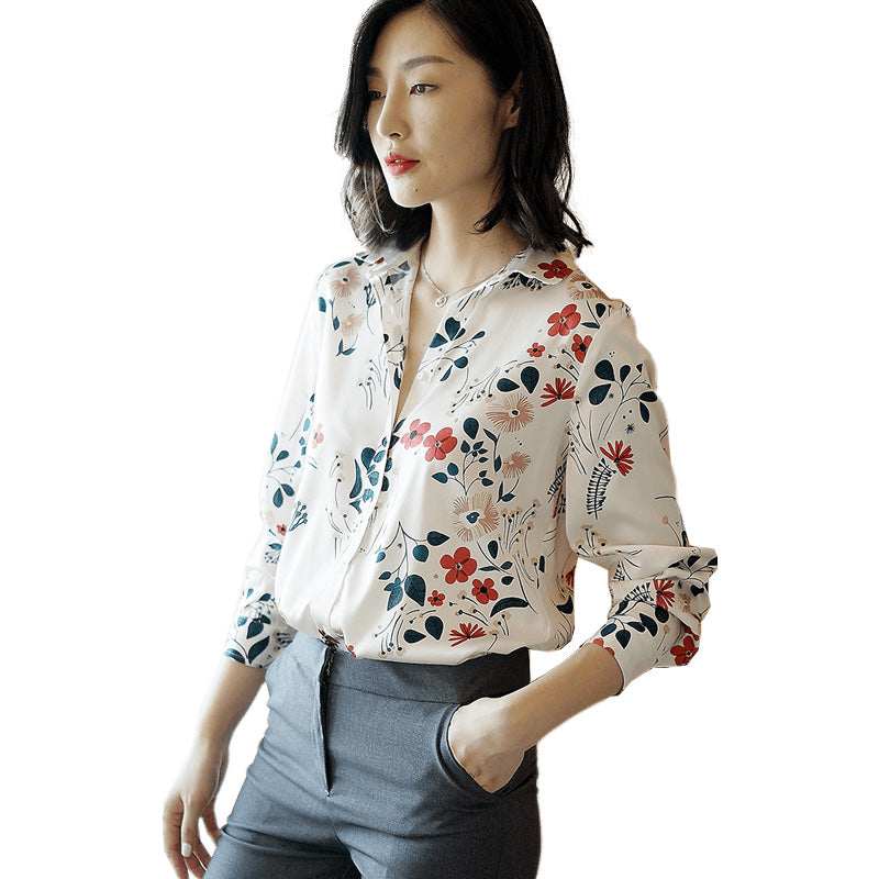 Silk shirt women spring and summer long-sleeved fashion small floral print large size silk blouse