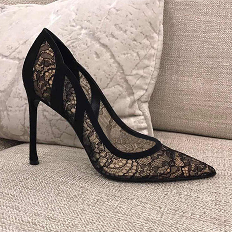 Lace hollow wedding shoes shoes leather stiletto women's shoes high heels