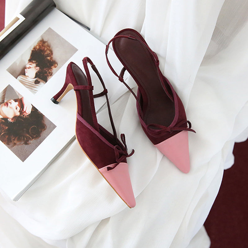 Sandals female summer fairy shoes 2019 Korean pointed stiletto heels shallow mouth bow small fragrance chic shoes