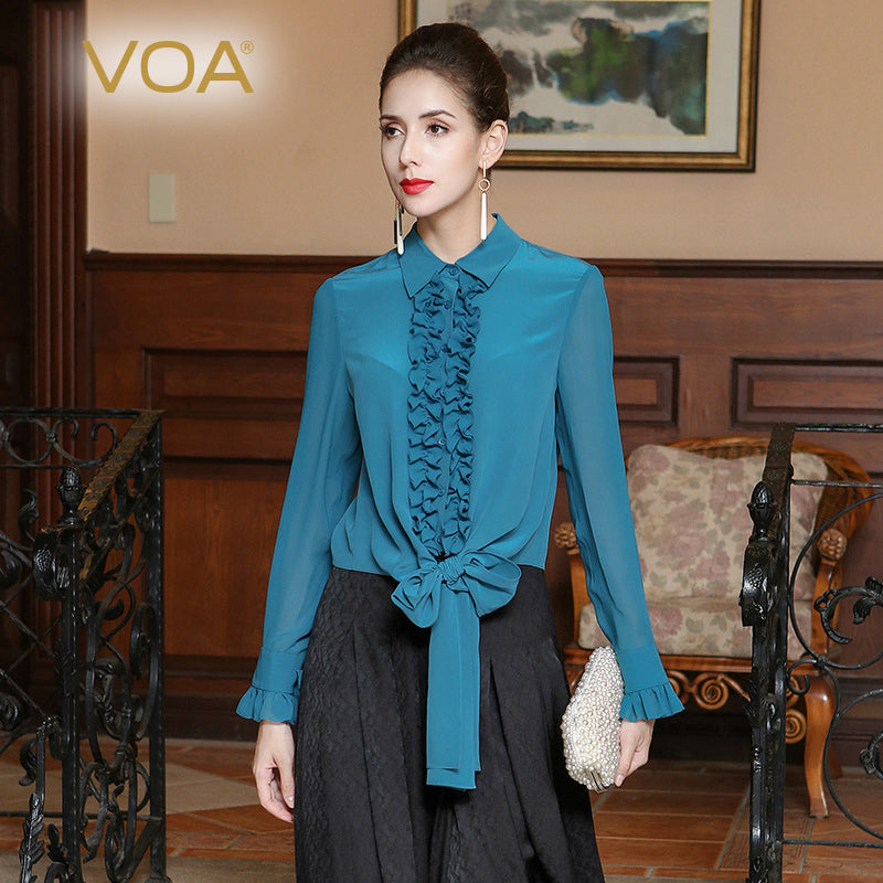 Silk shirt women fungus spring and summer laced silk blue slim slimming silk blouse