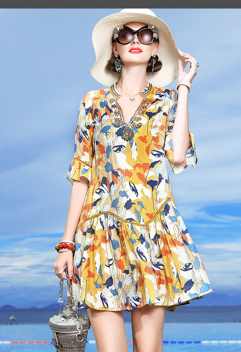 Luxury Silk dress women summer 2019 silk fashion floral long skirt