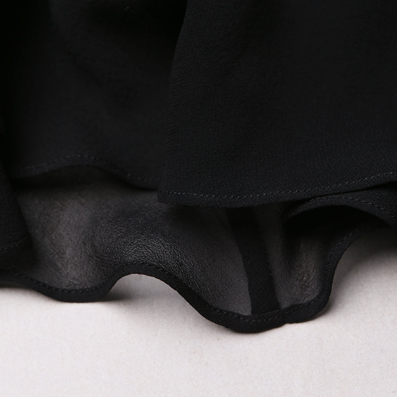 Pure black side and ground silk skirt enchanting s-shaped bag hip skirt