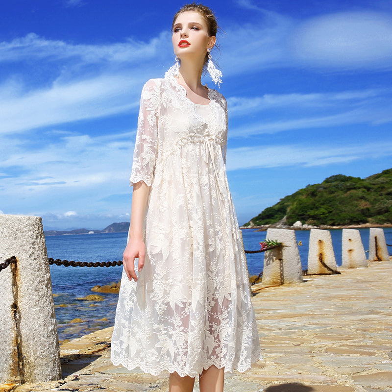 Luxury lace dress women, literary amazing fairy skirt white long skirt