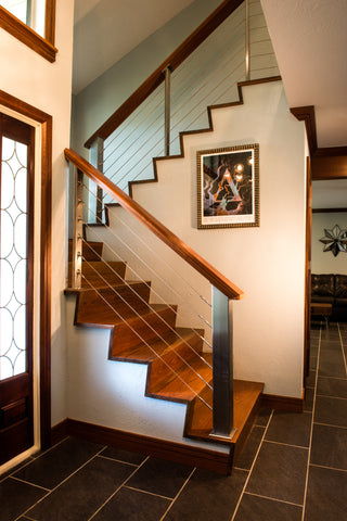 Ipe stair treads with mahogany handrail