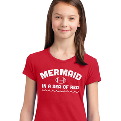 Nebraska Football Mermaid in a Sea of Red Girls Shirt
