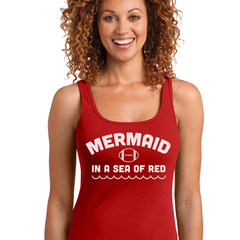 Nebraska Football Mermaid in a Sea of Red Womens Shirt