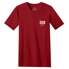 Men's Nebraska 308 Area Code Pocket Tee