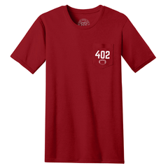 Men's Nebraska 402 Area Code Pocket Tee