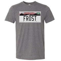 Men's Cotton Frost Nebraska License Plate Tee-SS-Grey