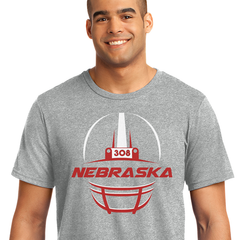 Men's 308 Area Code Football Helmet Grey T-Shirt