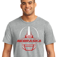 Men's Football Helmet with 402 Area Code Tee-Grey