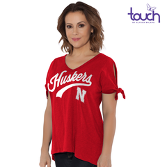 Women's V-Neck Nebraska Huskers Top with Tie Sleeves-Red