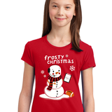 Girls Frosty Christmas Red Tee