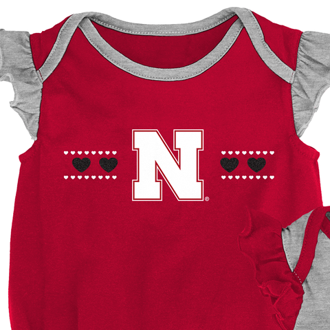 Infant Flutter Sleeve 2 Pack Homecoming Nebraska Huskers Creeper Set Detail