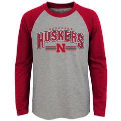 Kids/Youth Raglan Sleeve Nebraska Huskers Tee-Red