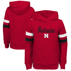 Youth Girls Overlay Nebraska Hoodie-Red