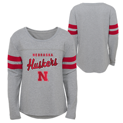 Youth Girls Dolmen Sleeve Huskers Tee-Grey