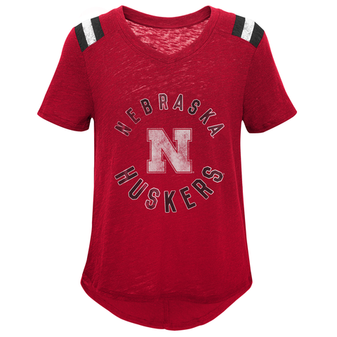 Youth Girls Vintage Nebraska Huskers Football Top-Red