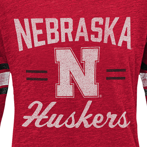 Youth Girls Nebraska Slub Tee-Red Detail