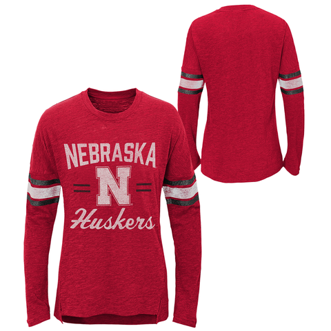 Youth Girls Nebraska Slub Tee-Red