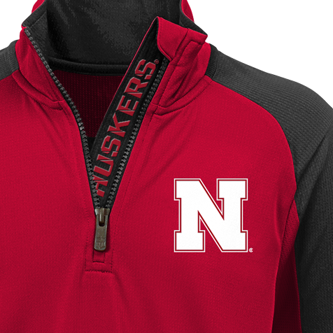 Kids/Youth Nebraska Huskers Performance 1/4 Zip-Red Detail