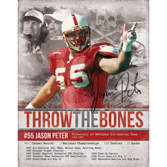 Nebraska Autographed Jason Peter Throw the Bones Blackshirt Poster