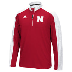 Nebraska Huskers Sideline 1/4 Zip by Adidas - Red - LS