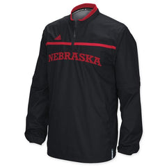 2015 Nebraska Huskers Woven Convertible 1/4 Zip Hot Jacket by Adidas - LS - Black