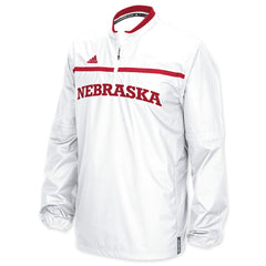 2015 Nebraska Huskers Woven Convertible 1/4 Zip Hot Jacket by Adidas - LS - White