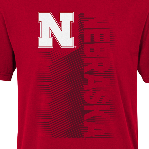 Kids Nebraska Football Jump Speed Cotton Tee-Red Detail