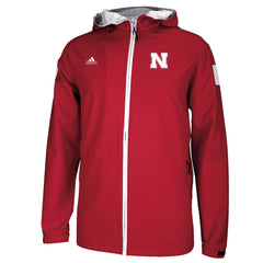 Nebraska Huskers Sideline Full Zip Woven Jacket by Adidas - Red - LS