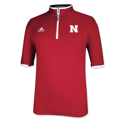 Official Nebraska Sideline 1/4 Zip Polo- Adidas