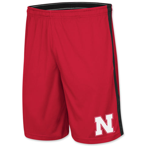 Mens Red Nebraska Workout Shorts