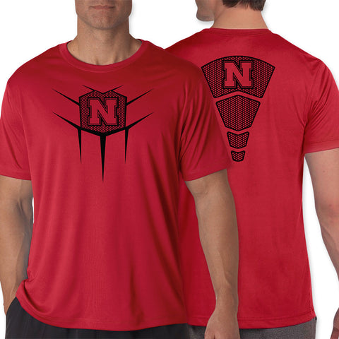 Front Back Mens Red Nebraska Performance Athletic Tee