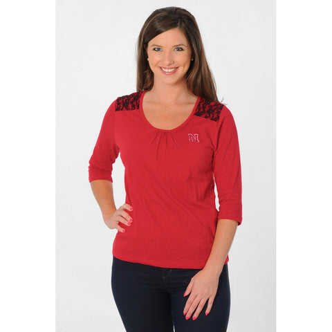 Womens Nebraska Huskers Apparel Lace Shoulder Top