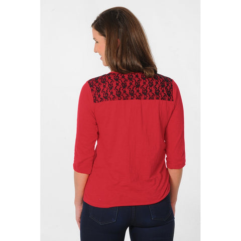 Womens Nebraska Huskers Lace Shoulder Top