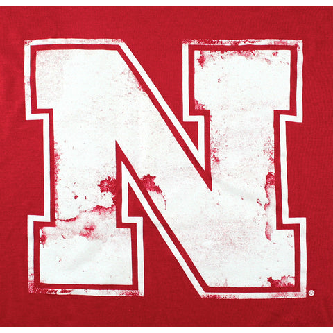 Scoopback Washed Print Nebraska Tee - Red - SS